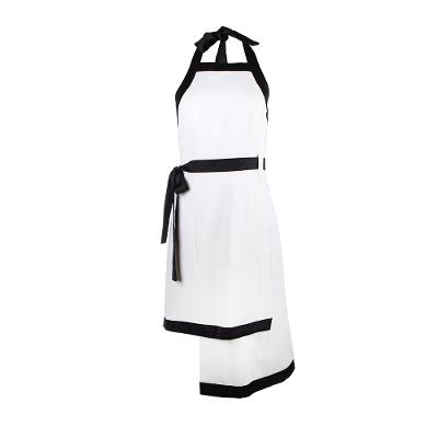 halter neck with ribbon mini dress black and white